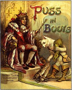 """Father Tuck's Nurseryland Series, """"Puss in Boots"""" Illustrations, Illustration Art, Victorian Books, Simple Cartoon, Blue Fairy, Mythological Creatures, Book Cover Art, Vintage Cat, Conte"""