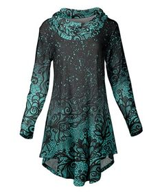 Another great find on #zulily! Black & Mint Floral Cowl Neck Tunic - Plus Too #zulilyfinds