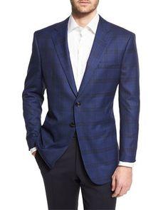 GIORGIO ARMANI Plaid Two-Button Wool Jacket, Navy. #giorgioarmani #cloth #