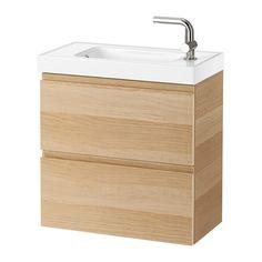 GODMORGON / HAGAVIKEN Mosdószekr 2 fiókkal,csapt.nélk - fehérre pácolt tölgy hatás - IKEA