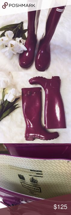Hunter | Tall Fuschia Rain Boots EUC! Gorgeous color - a magenta/fuschia! Only worn a few times! Inside property of: is BLANK! Exterior has minimal scuffs. Right boot has one scuff that is discolored. Bottoms look excellent. Silver hardware on buckles. Perfect for those Spring showers! Hunter Shoes Winter & Rain Boots