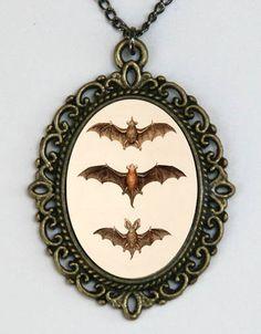 Bats necklace gothic psychobilly horror dracula vampires punk diy. $8.00, via Etsy.