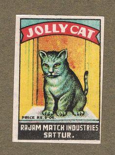 1900`S JOLLY CAT INDIA MATCHBOX LABEL AE43 LOT 4