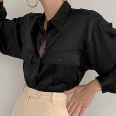 """78ae3d3171273 Deux Birds Vintage on Instagram  """"Gorgeous vintage jet black pure liquid silk  button up blouse with front pockets. A luxe all-season treasure. Online now."""