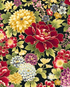 Hanabi - Blossoms At Dusk Japanese Textiles, Japanese Patterns, Japanese Painting, Chinese Painting, Pichwai Paintings, Textile Pattern Design, Traditional Japanese Art, Floral Drawing, Japanese Flowers