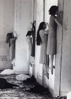 German Stage Performance | Pina Bausch Blaubart, 1977 | eerie | spooky | ghosts | insanity | asylum | insane | ghost dancers | climbing the walls | afterlife | scary | nightmares |