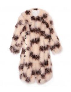 Chloé Check & Dot Fur Coat