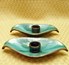 Vintage Blue Mountain Pottery Leaf Candleholder Pair make doll house candle holders