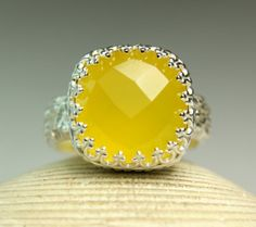 Yellow Chalcedony Ring Sterling Silver by TazziesCustomJewelry