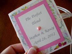Bridal shower tea party favors. Holds packets of tea: earl grey and lady grey