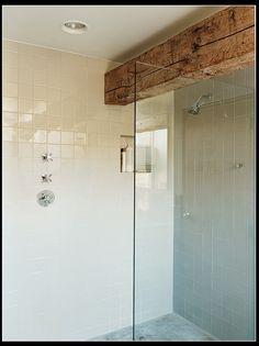 wood beam in shower (bathroom)