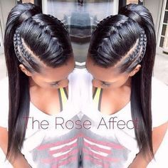 Braided ponytail hairstyles for black hair. braided ponytail hairstyles for black hair ponytails Braided Ponytail Hairstyles, Pretty Hairstyles, Girl Hairstyles, Black Hairstyles, Braided Updo, Braided Faux Hawk, Pageant Hairstyles, Relaxed Hairstyles, Curled Ponytail
