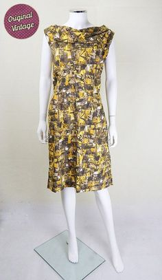 e098a5dc266a3 Vintage 1950 s Yellow and Khaki Day Dress UK Size 12 14. We adore original  50s  vintage dresses at My ...