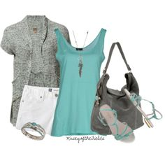 """Grey and Turquoise"" by kaseyofthefields on Polyvore"