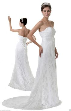 FairOnly Stock Strapless Lace Wedding Dresses Bridal Gown Size 6 8 10 12 14 16