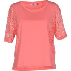 Only T-shirt ($52) ❤ liked on Polyvore featuring tops, t-shirts, coral, short sleeve tops, pocket tees, pocket t shirts, short sleeve t shirts and red short sleeve top