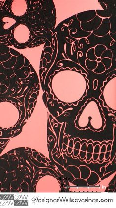 Skulltown Velvet Flock Wallpaper  [WOF-67026] Velour Velvet Flock Walls | DesignerWallcoverings.com | Luxury Wallpaper | @DW_LosAngeles | #Custom #Wallpaper #Wallcovering #Interiors