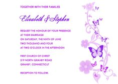 Free Wedding Border Templates | Butterflies Wedding Invitation - Lavender and Purple | Printable ...