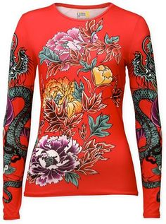 Women's Athletic Apparel: Red Athletic Long Sleeve Top with Peony Print - Womens Workout and Sports Clothes by YMX