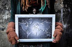 World Map Framed beautiful handmade decoupage Unique finishing
