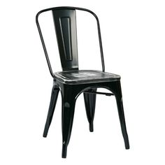 Work Smart / OSP Designs, Bristow Metal Chair with Vintage Wood Seat, 4 Count, Black/Ash Crazy Horse
