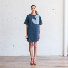 Description Wear & Care Sizing   Circles, arcs and inscribed angles. Rachel Comey schools us with geometry in this structured bi-color denim dress wit...