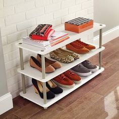 The 12 Pair Shoe Rack by ClosetMaid is a versatile solution to store up to 12 pairs of shoes, inside or outside of your closet. Its tool-free design makes getting organized quick and easy. The moder Diy Shoe Rack, Shoe Storage Cabinet, Bench With Shoe Storage, Shoe Storage Closets, Closet Organization, Small Shoe Rack, Dorm Storage, Shoe Racks, Bag Storage