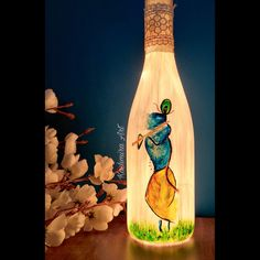 Shree Krishna Painting On Glass Bottle Painted Glass Bottles, Glass Bottle Crafts, Diy Bottle, Bottle Art, Pottery Painting Designs, Art Basics, Paper Crafts Origami, Cool Art Drawings, Bottle Painting