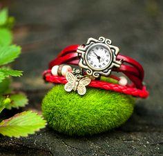 WickelUhr *ArmbandUhr*Leder  rot von Fleur Noire-Schmuckdesign by Polarkind auf DaWanda.com Für 16,90 €