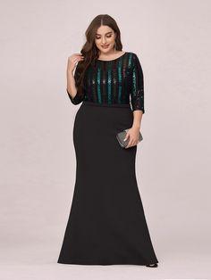 #plussizedress#plussize#maxidress#longdress#dress#sequindress##eveningdress#mermaiddress Ever Pretty, Floor Length Dresses, Classy Dress, Fishtail, Plus Size Dresses, Half Sleeves, Evening Dresses, Sequins, Prom
