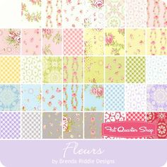 Fleurs MINI Charm Pack Brenda Riddle Designs for Moda Fabrics - Fleurs - Moda Fabrics | Fat Quarter Shop