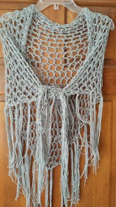 Scarf Crochet Shawl Triangle Fringe Handmade by softtotouch, $34.00