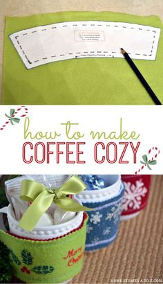 I thought of you Michelle Peters when I saw this.  How to make coffee cozy. Step-by-step tutorial.