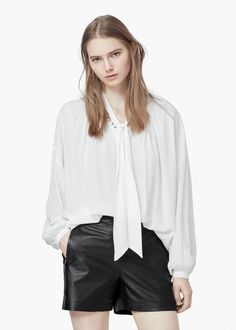 Tie-neck blouse - Shirts for Women | MANGO