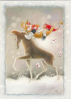 Riding in the Antlers! Illustration by Kaarina Toivanen Christmas Moose, Christmas Time, Christmas Crafts, Handmade Christmas, Vintage Christmas, Christmas Illustration, Scandinavian Christmas, Vintage Cards, Christmas Pictures