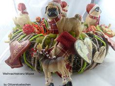 Weihnachtskranz Möpse von Glitzerstuebschen auf DaWanda.com