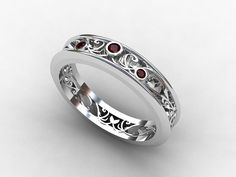 Filigree wedding ring with gorgeous Rubies by TorkkeliJewellery, $1090.00