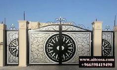 Gate Wall Design, Steel Gate Design, Front Gate Design, Main Gate Design, House Gate Design, Gate House, Door Design, Wrought Iron Driveway Gates, Iron Garden Gates