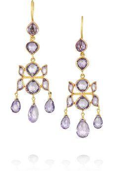 MUNNU The Gem Palace 22-karat gold amethyst earrings | NET-A-PORTER