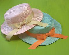 パステルカラーのカンカン帽 Pastel color boater