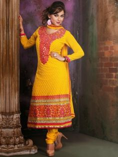 Yellow Georgette Suit With Resham Work