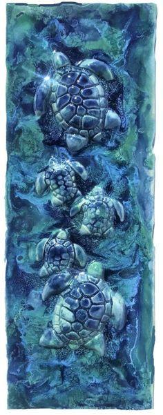 Hawaiian Sea Turtle, Hawaiian Designs, Sea Life Art, Handmade Kitchens, Artwork, Animals, Tile, Shower, Bathroom