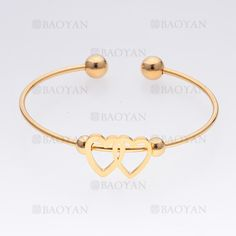 pulsera de corazones de dorado en acero- SSBTG465504