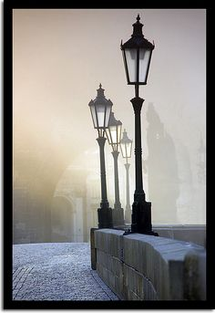 Good old Prague I hope for the day to see light posts like these in fog like this in person. Prague Czech Republic, Ville France, Famous Castles, Lantern Lamp, Old Street, Street Lamp, Beautiful Images, Lamp Light, Scenery