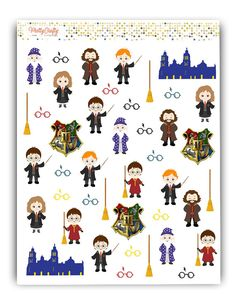 Harry Potter stickers kit Decorative by PrettyCraftyStickers Planner Stickers, Harry Potter Stickers, Personal Planners, Fantastic Beasts And Where, Kit, Erin Condren, Travelers Notebook, Filofax, Happy Planner