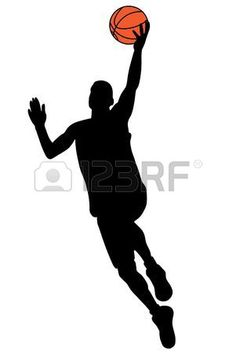 Black basketball player silhouette with color ball Stock Photo