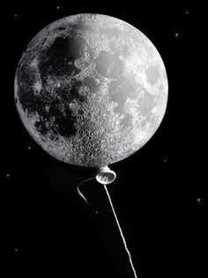black and white #moon #baloon