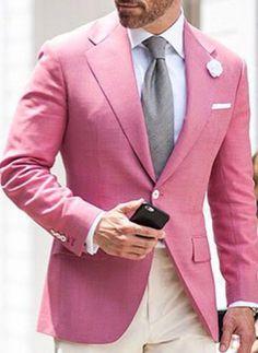 How to Wear a Pink Blazer For Men looks & outfits) Blazer Fashion, Mens Fashion Suits, Pink Blazer Outfits, Designer Suits For Men, Men Style Tips, Stylish Men, Men Casual, Gentleman Style, Menswear