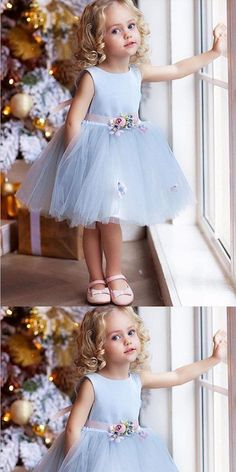 Unique Prom Dresses, A-Line Knee Length Blue Tulle Flower Girl Dress With Flowers,Cheap Flower Girl Dresses, There are long prom gowns and knee-length 2020 prom dresses in this collection that create an elegant and glamorous look Tulle Flower Girl, Cheap Flower Girl Dresses, Tulle Flowers, Little Girl Dresses, Girls Dresses, Flower Girl Dresses Boho, Ball Dresses, Ball Gowns, Girls Blue Dress