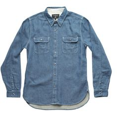 Freenote Cloth SHELTON Blue | Japanese Indigo Cotton-Linen Blend Button Down | Made in USA Menswear
